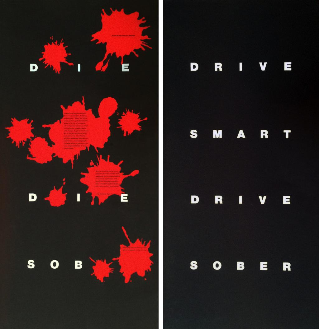 A 2-sided poster design for bus stands in New York City for MADD [Mothers  Against Drunk Driving]