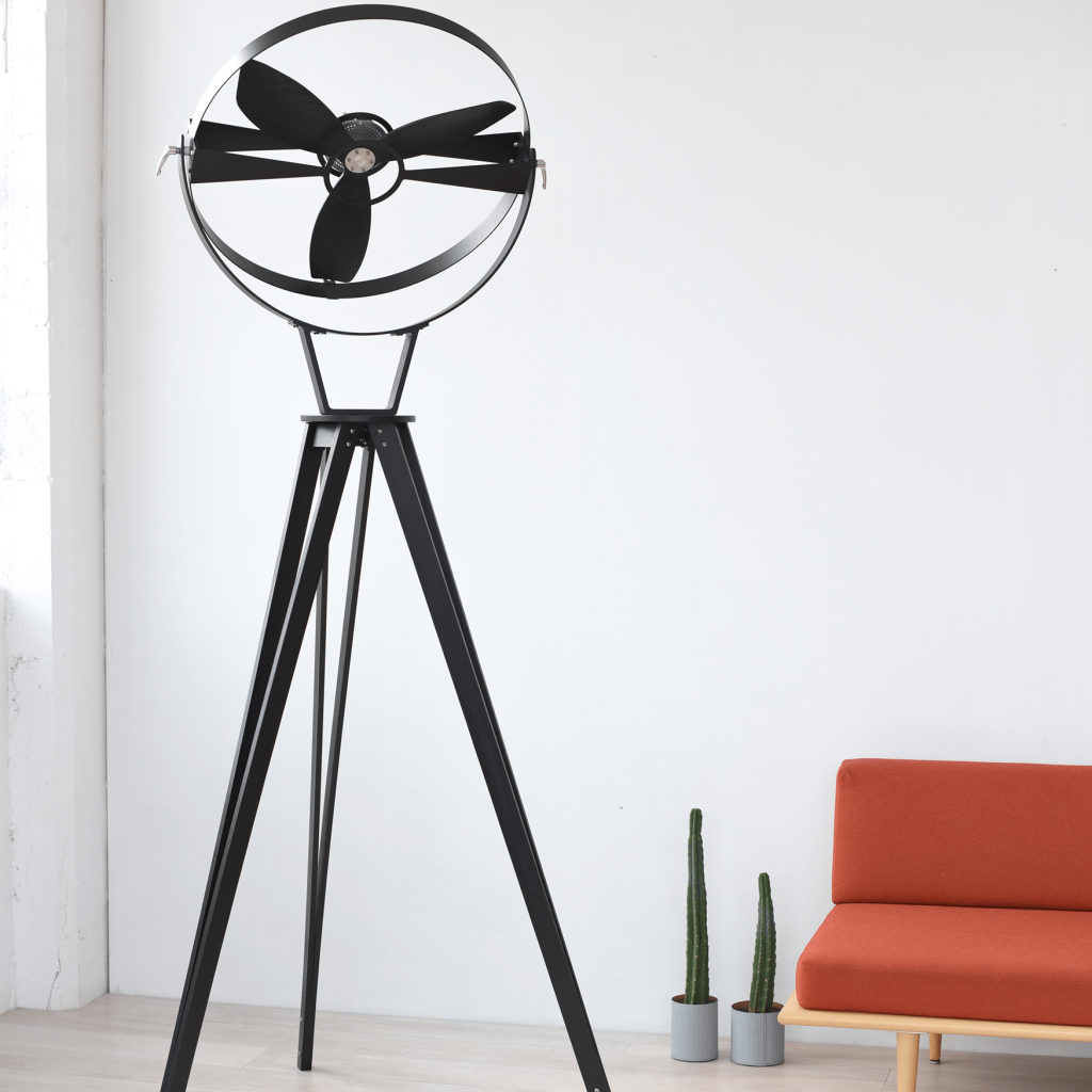 Aura Midnight Black (Size: 2,40 m) - Wooden Pedestal Fan - TTATO Design