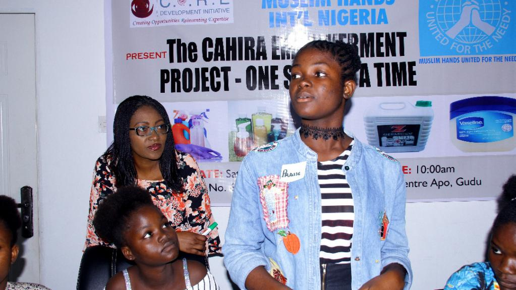 Rejoice about to answer a question during the 'One Skill at a Time' Cahira Project in 2018