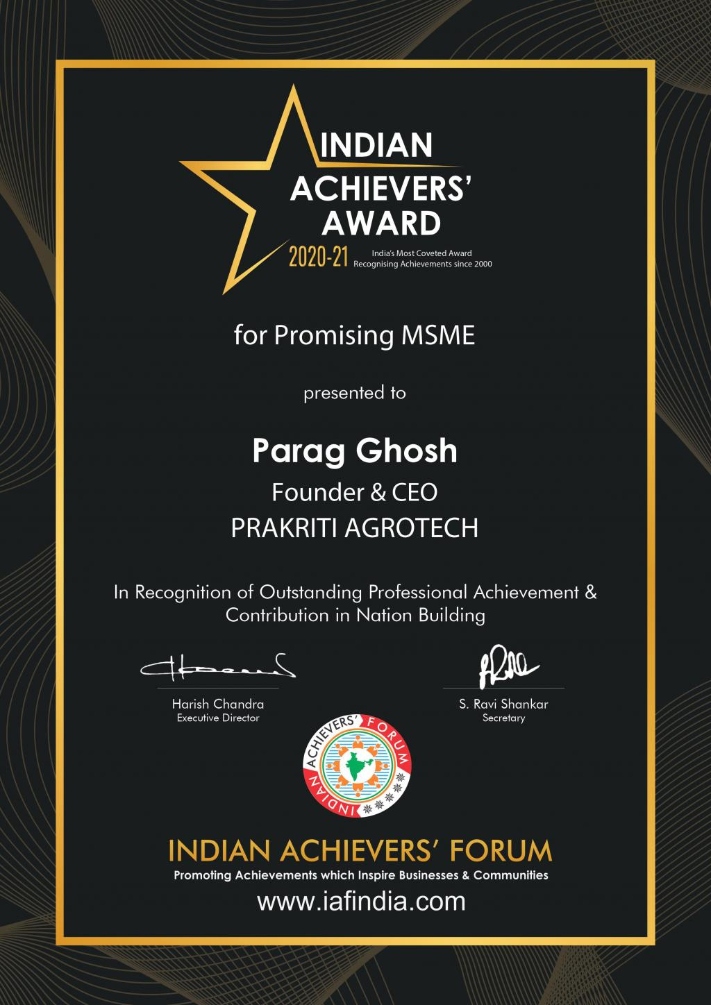Indian Achievers Award for most promising MSME for achievement and  contribution to nation building