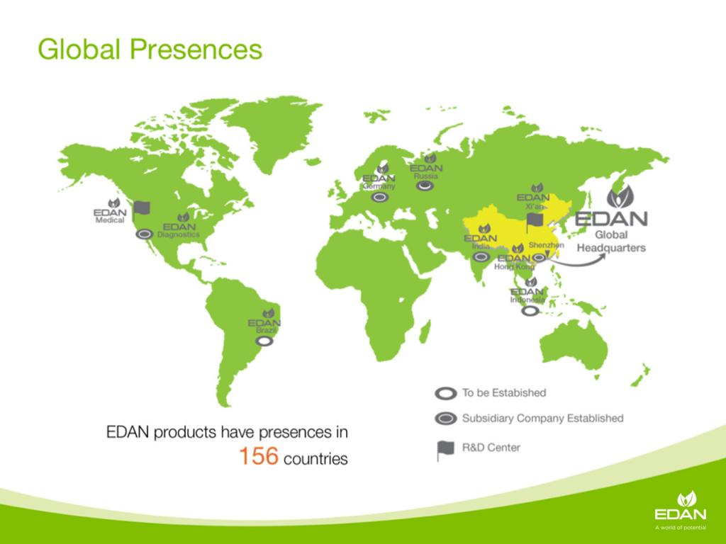 EDAN products have presences in 156 countries