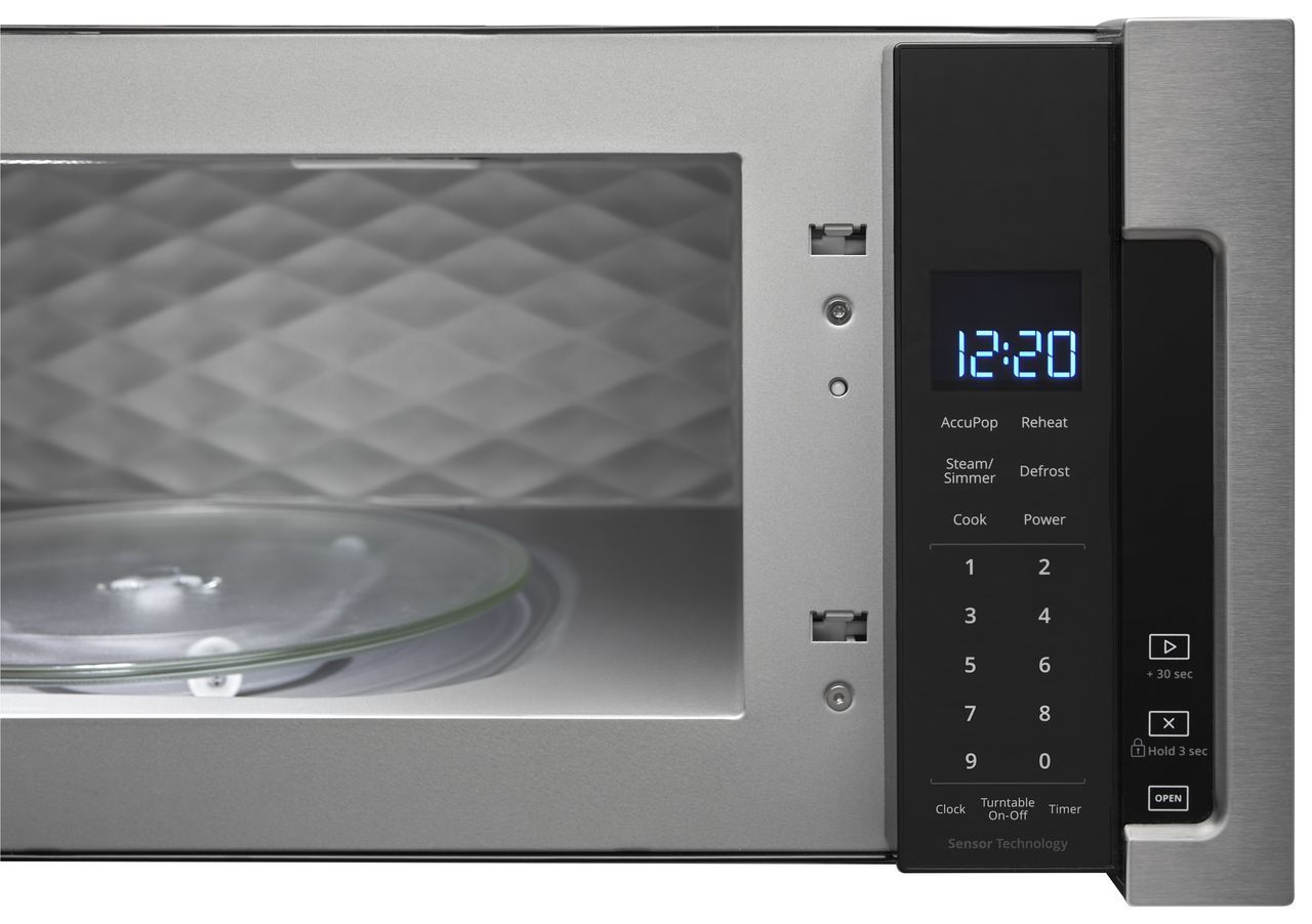 low profile over the range microwave